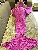 eCrazyBaby Manta de Cola de Sirena ponible, Todas Las Estaciones cálido sofá Cama Sala de Estar Manta De Punto De Ganchillo para niños y Adultos, Classic Patrón, 180 x 90 cm, Rosa Oscuro