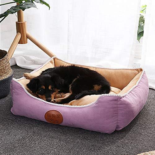 TOMSSL Lila + beige Kaschmir + rutschfestes Tuch + dreidimensionaler hochelastischer Katzenstreu aus Baumwolle Abnehmbar und waschbar Süßes Haustiernest Heimtierbedarf in Mehreren Größen (Size : L)
