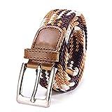 DonDon Cinturón trenzado extensible y elástico para hombres y mujeres de 100 cm a 130 cm de longitud marrón-multicolor