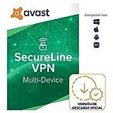 Avast SecureLine VPN - Conexión VPN para proteger la privacidad - Software para descargar | 5 Dispositivo | 1 Año | PC/Mac | Código de activación enviado por email