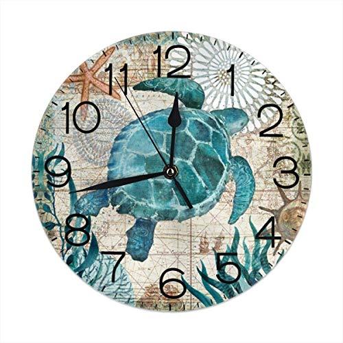 Reloj de Pared Redondo con mapas náuticos, silencioso, Funciona con Pilas, Silent 9,5 Pulgadas, para Estudiantes, , Escuela, hogar, Reloj Decorativo
