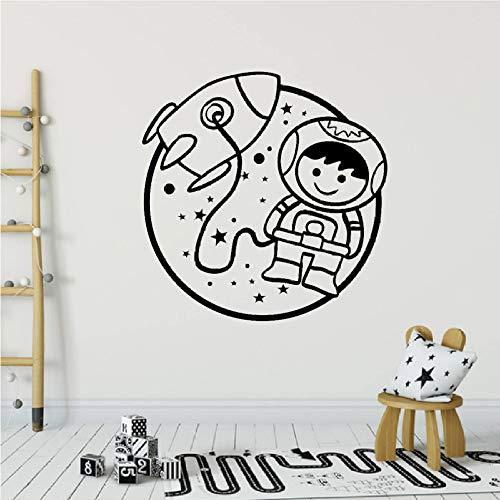 wukongsun Astronauta Bebé Tatuajes de Pared Habitación para niños Astronauta Nave Espacial Vinilo Etiqueta de la Pared Decoración para el hogar Dormitorio Calcomanía Negro 57X58 cm