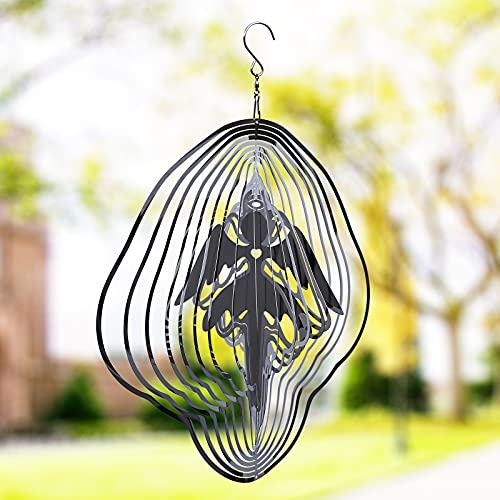 WALOEE Kinetic Hanging Wind Spinner Garden Decor, Laser Cut-3D Wind Spinners 12 Inch Angel,Indoor...