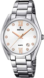 Festina F16790/a Two-Tone Stainless Steel Round analog Watch for Women - Silver