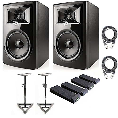 JBL 306P MkII Powered 6.5' Studio Monitoring Speakers (Pair) w/AxcessAbles Audio Cables and Isolation Pads