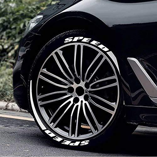 Dreameryoly Autoreifen-Aufkleber Reifen-Brief-Aufkleber Auto-allgemeiner Reifen-Aufkleber 3D Autoreifen-personalisiertes Modell-Rad-Kennzeichen, Weiß, Verwendbar Für Die Meisten Auto- / Standard
