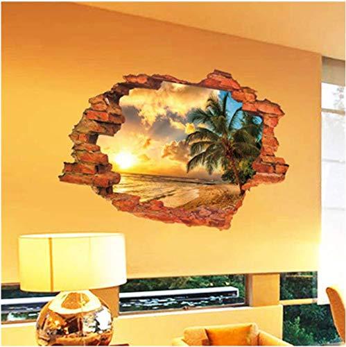 Mur cassé Coucher du soleil paysage Seascape Island arbres de noix de coco ménage 3D ornement peut supprimer les stickers muraux 60 * 90 cm