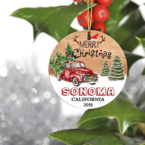 Montrwie Merry Christmas Tree Decorations Ornaments 2019-Ornament Hometown Sonoma California CA State-Keepsake Gift Ideas Ornament 3' for Family, Friend and Housewarming