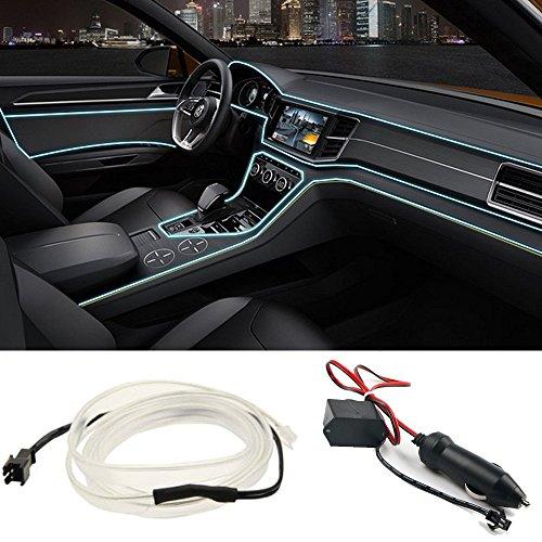 Auto Zierleiste Chrom Zierleisten Trim - Automan flexiblem Innenraum Dekorative Streifen Line DIY (5M, Eisblaues Licht)