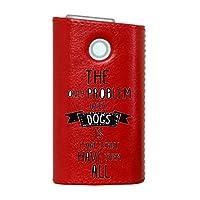 glo グロー グロウ 専用 レザーケース レザーカバー タバコ ケース カバー 合皮 ハードケース カバー 収納 デザイン 革 皮 RED レッド 英字 かっこいい おしゃれ 011857