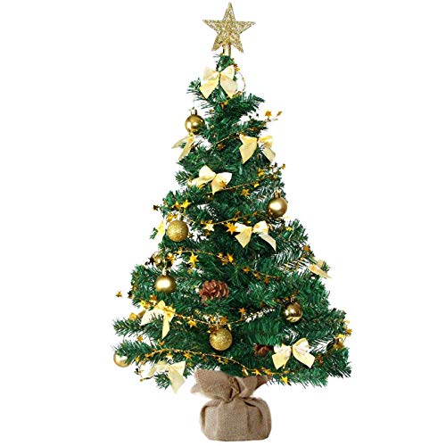 Baunsal GmbH & Co.KG Weihnachtsbaum Tannenbaum Christbaum künstlich 90 cm grün mit Goldener Dekoration inkl Lichterkette mit Micro LEDs und Fernbedienung