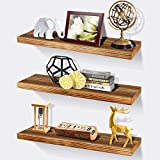 Rustic Wood Floating Shelves Wall Mounted-Wooden Wall Shelf for Bathroom,Bedroom,Kitchen,Farmhouse,Living Room ,Set of 3(17inch,Brown)
