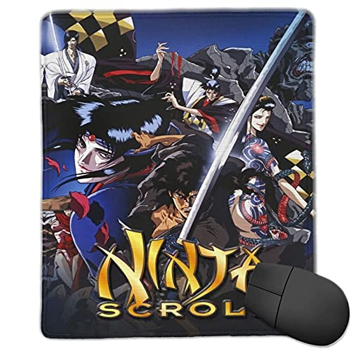 Ninja Scroll Movie Mouse Pad Non-Slip Rubber Pad Stitched Edge Gaming Mouse Mat for Office Shool