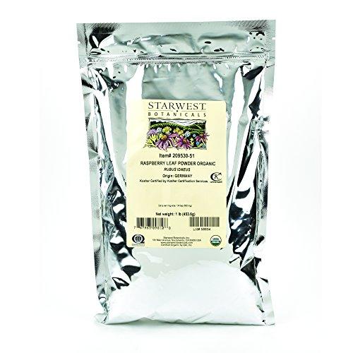 Starwest Botanicals Organic Raspberry Leaf Powder, 1 Pound