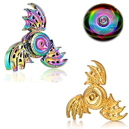 Phoenix Cool Fidgets Spinners, Dragon Wings Hand Finger Spinners Metal Focus Fingertip Gyro Anti Anxiety Stress Relief Spiral Twister ADHD EDC Toy Premium Best Gifts for Kids Adults(Rainbow&Golden)