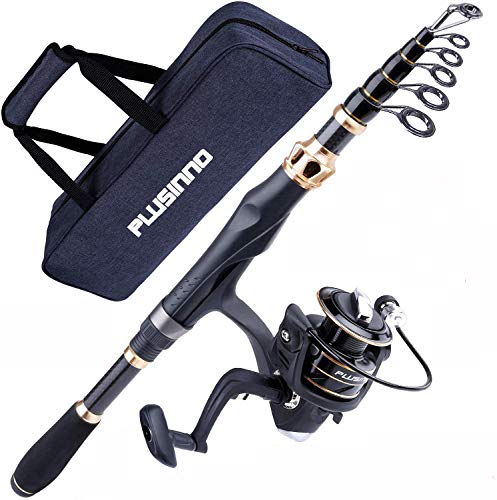 PLUSINNO Fishing Rod and Reel Combos Carbon Fiber Telescopic Fishing...