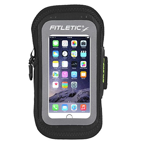 Fitletic Surge Sports Armband for Galaxy Smartphones and iPhone 6, Black, Large/X-Large