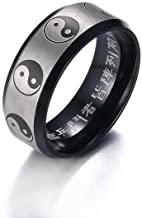 XUANPAI Stainless Steel Matted Finshed Engraved Yin Yang Tai-chi Daoist Philosophy Ring Band,Size 5-14