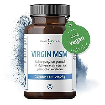 Virgin MSM Kapseln Als 100% Vegan Das Vegane MSM Mit 2000mg Tagesdosis Mit Methylsulfonylmethan Oder Organischer Schwefel Als Markenprodukt von Sports & Health in eigener Produktion in Deutschland