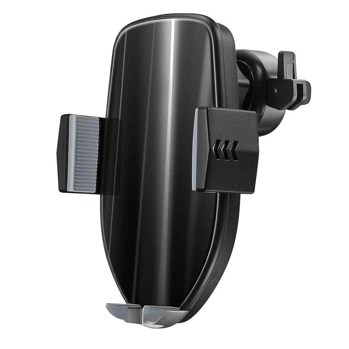 バーマドコンペ汚い携帯電話ホルダーIphone Xr、Xs、X、X、8、7、Samsung Note 9、S8 Huawei用360度回転空気出口カーブラケットインテリジェント縮小携帯電話ホルダー,Black