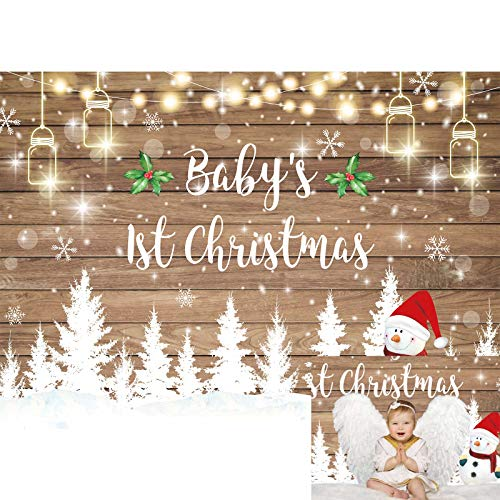 Allenjoy 7x5ft Winter Baby's 1st Christmas Backdrop Glitter Rustic Wood Pine Snowman Snowflakes Photography Background for Kids Children Baby Shower First Birthday Party Decor Banner Photo Booth Props
