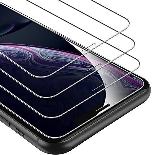 UNBREAKcable Protector Pantalla de Vidrio Templado Compatible con iPhone XR, 3 Unidades, dureza 9H, 2.5D, 3D Touch, antiburbujas, antiarañazos (Cristal blindado para iPhone XR)