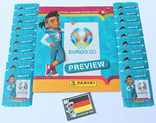 Preview Panini Euro 2020 Leeralbum + 20 Tüten Sticker + 1 x Panini Jeans Sticker von 1978