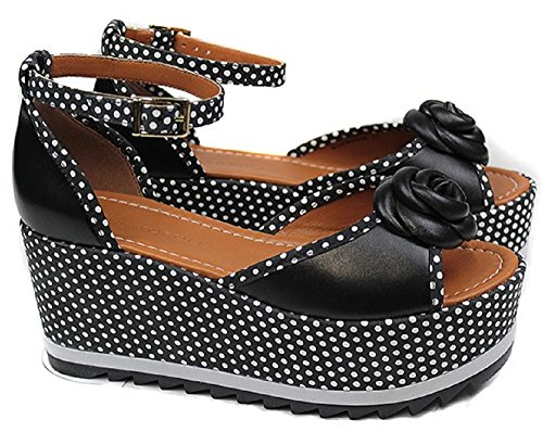Cristofoli Damen Plateau Sandale schwarz mit weißen Punkten NEU (37)