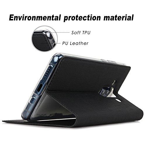 Huawei Mate 10 Pro Hülle, Feitenn dünne Premium PU Leder Flip Handy Schutzhülle mit dem Ansichtsfenster   TPU-Stoßstange, Kameraschutz- und Standfunktion Handyhülle Case Cover Tasche Zubehör (Schwarz) - 6