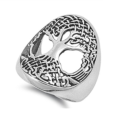 CloseoutWarehouse Sterling Silver Tree of Life Wicca Celtic Ring Size 10