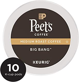 Peet's Coffee K Cup Pack Big Bang, Medium Roast Coffee, 10Count Single Cup Coffee Pods, Brilliant, Bright Blend of Ethiopian Super Natural Coffee, Medium Bodied, Aromatic & Fruity with Citrus Notes