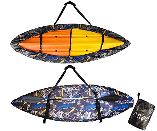 Anzid Kayak Cover Waterproof for Outdoor Storage, Dust Cover-UV Sunblock Shield Protector Kayak Canoe Cockpit Accessories for Indoor/Outdoor Storage (Suitable for 13.5-14.8ft/4.1-4.5m Kayak)