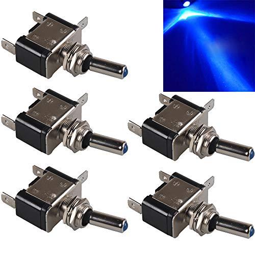 Mintice 5 X azul 12V 20A LED interruptor de palanca basculante luz unipolar ON/OFF Vehículo Barco