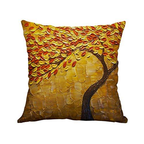 Sylar Funda de Almohada,Fundas de Cojines 45x45 4PC Vintage Floral Hojas Árboles Funda de Almohada para Sofa Jardin Cama Decorativo