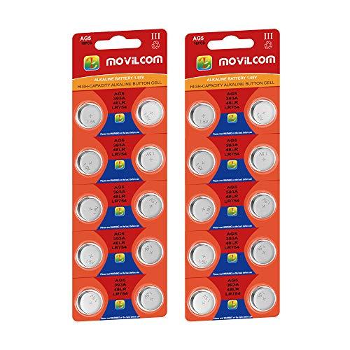 MovilCom - 20 Pilas Botón AG5 Pilas Reloj 1.5V Equivalente a LR754, LR753, SR754W, V393, 393, D393, S754E, 255, F, SB-B3, SR48