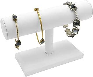 Jewelry Stand White Leather T-Bar Jewelry Tower Bracelet Watch Necklace Stand Jewelry Display Holder Organizer