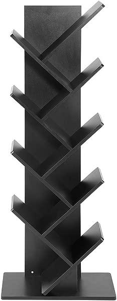 GOTOTOP 9 Shelf Bookcase Display Rack Shelf Organization Display Storage Furniture For CDs Movies Books Black
