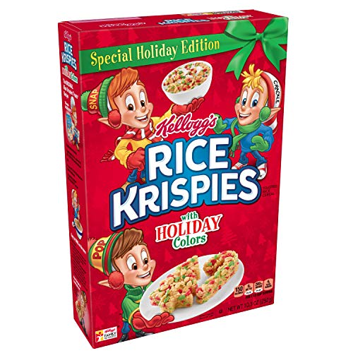 Kellogg's Rice Krispies, Breakfast Cereal, Original with Holiday Colors, Special Holiday Edition, 10.3oz Box