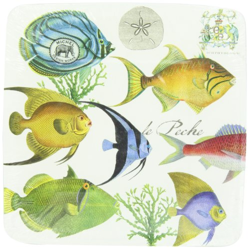 Michel Design Works Tropical Fish Luncheon and Dessert Square Paper Plates, 8 Count