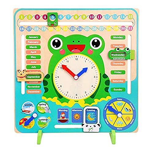 Siposhop Montessori De Madera Niños Juguete De Conocimiento A Tiempo Diario, Reloj Calendario De Temporada Vertical 7-en-1, Guardería Infantil, Juguetes Educativos De Enseñanza Y SIDA Regalo