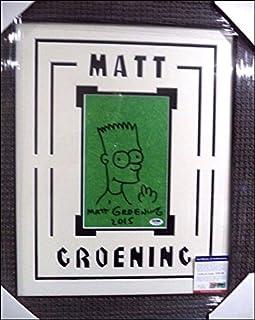 MATT GROENING SIMPSONS SIGNED SKETCH OF BART HUGE 20X24 DOUBLE MATTED & FRAMED W/PSA/DNA COA