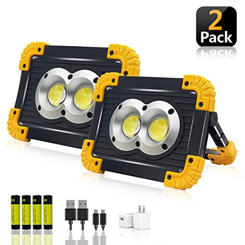 LED Portable Work Lights,SONEE Super Bright Rechargeable COB Flood Lights Waterproof Work Light with Stand Built-in Power Bank Job Site Lights for Indoor Outdoor Lighting (L802Y-2PACK)