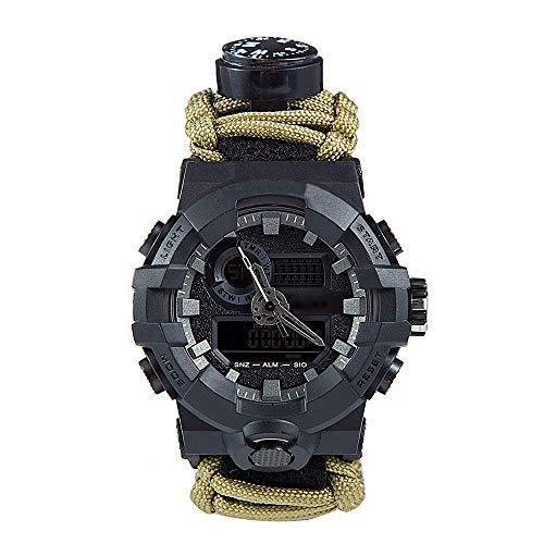 LOY 7 in 1 Survival Paracord Uhren Herren & Damen Outdoor Multifunktionale Notfall Sportuhr für Bergsteigen/Abenteuer,C