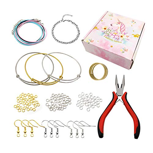 kit de fabricación de pulseras, Kit de Hacer Bisutería, Accesorios para hacer joyas con collar de cordón de cuero, alicates para collares, pulsera, fabricación y reparación de bricolaje