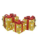 """Northlight Set of 3 Gold Tinsel Gift Boxes with Red Bows Lighted Christmas Outdoor Decorations 12"""""""