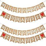 OFNMY Willkommen zu Hause Girlande Banner Zeichen, Heimkehr Partei, Housewarming-Party-Deko 19 Stück Fahnen mit 2 Stück 3 Meter Seile, 1 Stück Einziehnadel