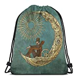 Yuanmeiju Moon Travel Shoulder Bolsa con cordón Backpack String Bags School Rucksack Gym Sport Bag Lightweight