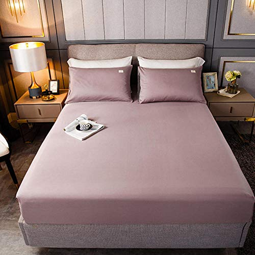 YFGY Hypoallergenic Breathable Bed Sheets Double,Cotton Fitted Sheet Mattress Cover Solid Color, Bedding Linens Bed Sheets With Elastic Dust Cover All-Inclusive light pink 150 * 200cm