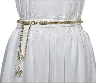 Metal thin waist chain wild rhinestone inlaid ethnic style belly dance waist chain belt Ladies (Color : Gold, Size : 115cm)