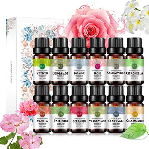 RAINBOW ABBY Ätherische Öle Set, Top 12 100% Pure Aromatherapy Kit, 12 x 10 ml Sezierte Öle (Rose, Vanille, Sandelholz, Geranie, Jasmin, Kamille, Bergamotte, Ylang-Ylang...